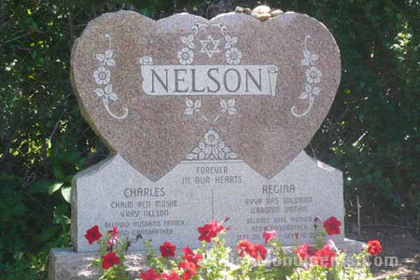 Pink Jewish Double Heart Tombstone
