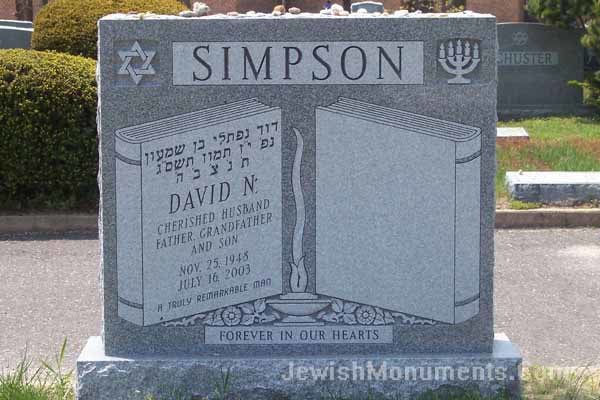 Double Jewish Tombstone with Double Books design and Jewish emblems