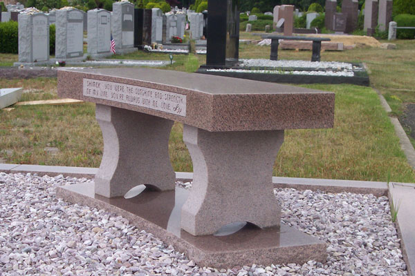 Granite Bench for Mount Ararat Cemetery in Lindenhurst, NY