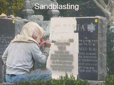 Sandblasting Jewish Inscription on a Jewish Gravestone in the cemetery